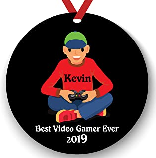 Personalized Video Game Player Boy Playing Video Game Christmas Ornament 2019 2020 Gamer Free Personalization (White boy)
