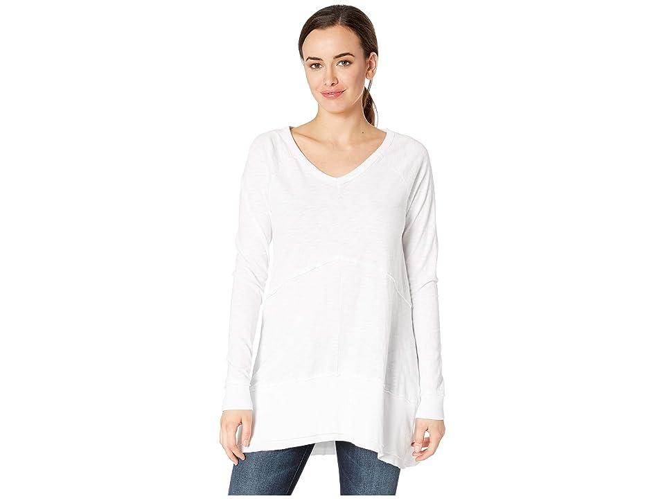 Mod-o-doc Heavier Slub Jersey Raglan Sleeve Seamed V-Neck Tunic (White) Women's Blouse