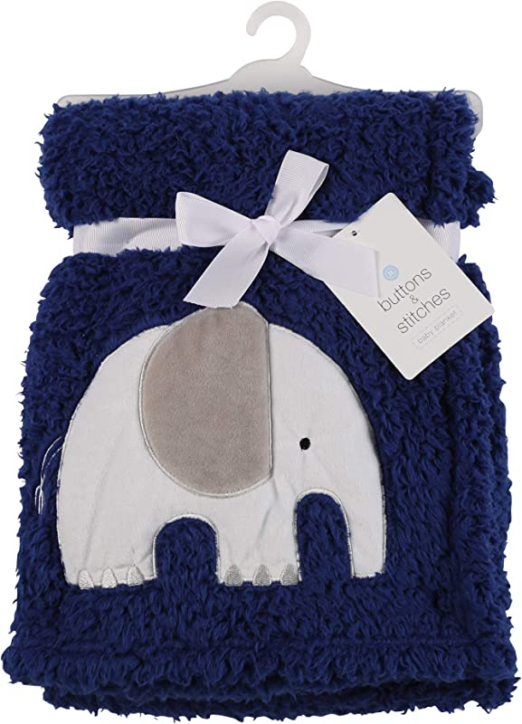 Buttons Stitches Double Sided Sherpa Blanket With Beautiful Elephant Applique