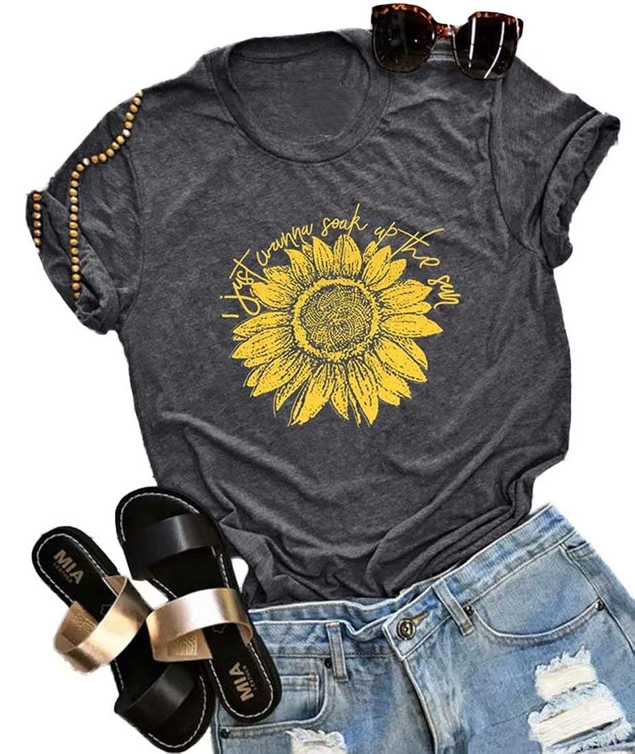 I Just Wanna Soak Up The Sun Sunflower T-Shirt Women Cute Funny Graphic Tee Teen Girls Casual Short Sleeve Shirt Tops