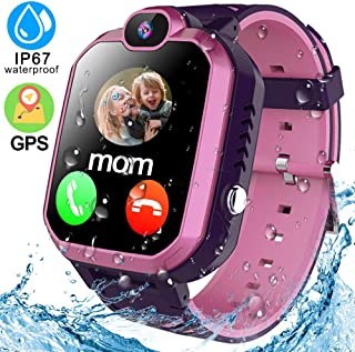 Kids Smart Watch Phone IP68 Waterproof GPS Tracker Smartwatch for Age 3-12 Girls Boys Touch Screen Wrist Watch with SOS Two Way Call Voice Chat Camera Alarm Puzzle Game Christmas Birthday Gifts
