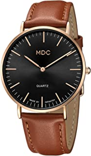 MDC Mens Brown Leather Minimalist Watch, Ultra-Thin Slim...