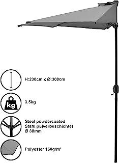 casa.pro Ombrellone a semicerchio (Ø300cm) (grigio) Ombrell