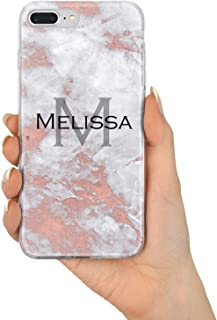 TULLUN Rose Gold Marble Personalized Custom Name Initials Monogram Text Flexible Soft Gel Phone Case Cover for iPhone Models - Name/Initials V3 - for iPhone 4 / 4s