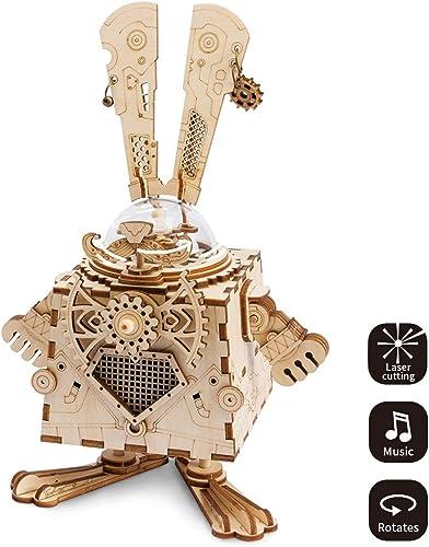 LHYP 3D-Holz Puzzle Mit Getriebe Hand-Craft Musical Box-Mechanische ModellbauSätze Spielzeug Für Kinder Oder Erwachsene Geburtstags- Kindertage Ostern (Hase)