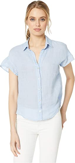 Ruffle Short Sleeve Button Down Linen Top