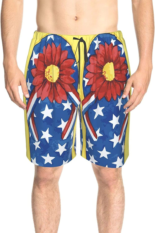 JINJUELS Men's Swim Trunks American Summer Slippers Swim Short Boardshort Quick Dry Comfy Swimwear Bathing Suits