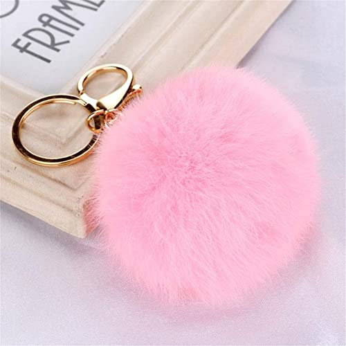 ROOMZOOM New Style Rabbit Fur Ball PomPom Cell Phone Car Keychain Pendant  Bag Key Ring Water d6b372b0f2f1
