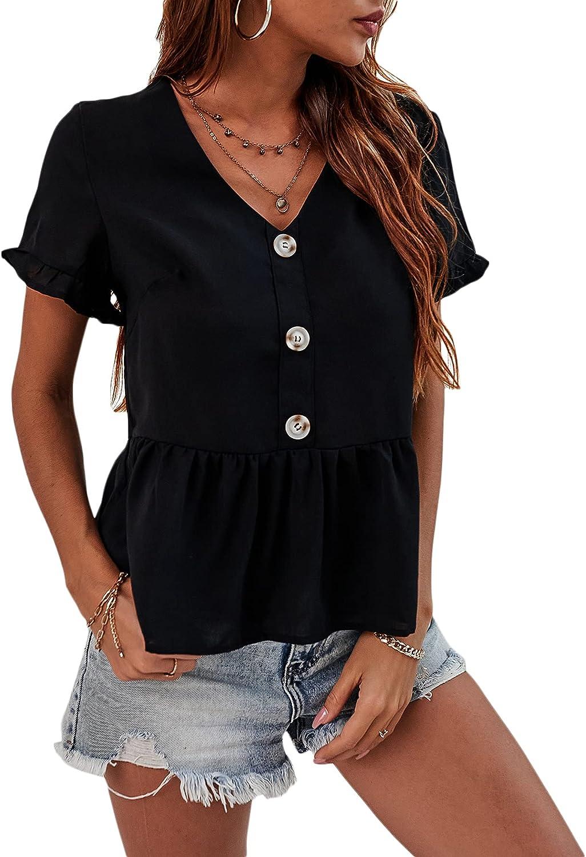 Romwe Women's Ruffle Blouse Button Front Short Sleeve V Neck Casual Peplum Shirts