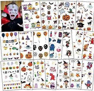 18 Sheets Halloween Tattoos for Kids, 150+ Designs Pumpkin Ghost Witch Owl Cartoon Waterproof Body Art Sticker for Boys Girls Trick or Treat Party Bag Filler Gift