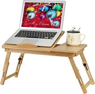 Bamboo Bed Tray Table, Adjustable Laptop Desk with USB Cooling Fan and Tilting Top Drawer for Eating, Reading & Working on...