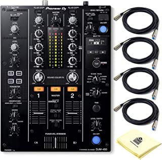 Pioneer DJ DJM-450 2-Channel DJ Mixer with Onboard 24-bit Audio Interface,3-Band EQs, Magvel Faders and Sound Color FX BUNDLE with 4 x Senor Microphone Cable 20' and Zorro Sound Polishing Cloth