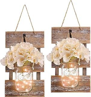 Mason Jar decor with lights – Mason Jar Farmhouse Style Wall Decor with 6-Hour..