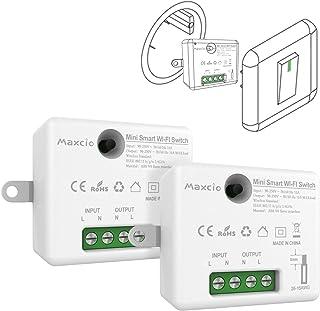Slimme wifi-schakelaar, Maxcio slimme lichtschakelaar, compatibel met Alexa Echo en Google Home, WiFi-ontvanger met afstan...