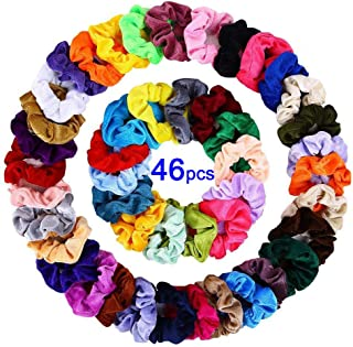 Velvet Hair Scrunchies, 46pcs Colorful Elastic Hair Ties Scrunchy Ponytail Holder Velvet Hair bands Set with Storage Bag for Women Girls Lady Children Hair Accessories