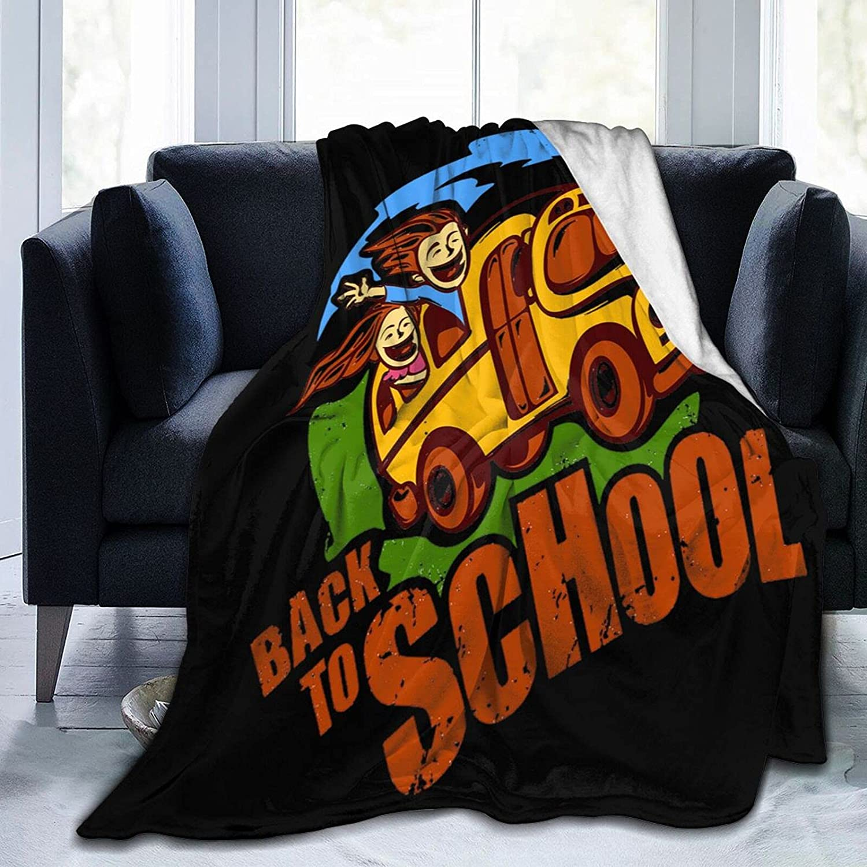 School Bus Soft Cozy El Paso Mall service Blanket Fluffy Decorative Plus Fuzzy Fleece