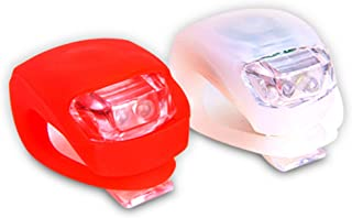 Shining Buddy Bicycle LED Lights Front & Rear Safety Set. White Headlight and Red Taillight. High Beam-Flashing-Blinking. Water Resistant, Batteries Included!