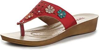 Liberty A-HA Ladies Casual Red Thong Slippers