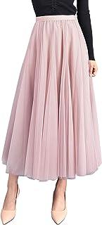 Falda de verano para mujer, falda larga de tul, línea A, falda plisada hasta el tobillo, cintura alta, elegante, maxi fald...