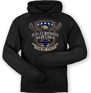 HARLEY-DAVIDSON Military - Men's Black Graphic Pullover Hooded Sweatshirt - Overseas Tour | Veterans Support