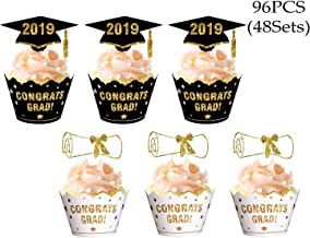 Graduation Cupcake Toppers Wrappers 2019 - Congrats Grad Party Supplies Cake Decorations