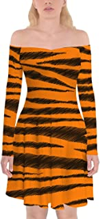 Rainbow Rules Tigger Stripes Winnie The Pooh Inspired Off Shoulder Longsleeve Skater Dress