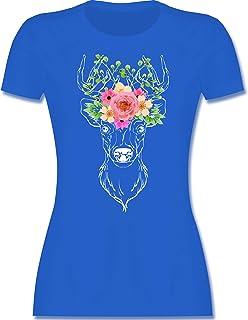 Shirtracer Oktoberfest & Wiesn Damen - Hirsch mit Blumengeweih - weiß - Tailliertes Tshirt für Damen und Frauen T-Shirt
