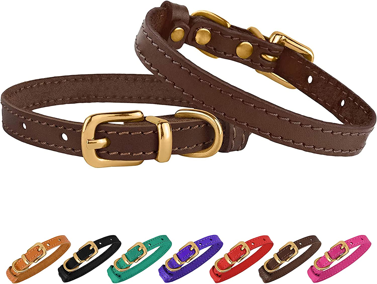 BRONZEDOG 55% OFF Leather Cat Collar with Small Pet Buckle Adjustable Superlatite Co