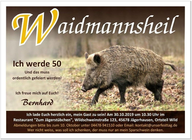 Geburtstagseinladung exklusiv für Jäger Jäger Jäger und Jagd Motiv Wildschwein Wild Waidmannsheil, 100 Karten - 17 x 12 cm B01DDUTP5O | Großhandel  03c64d