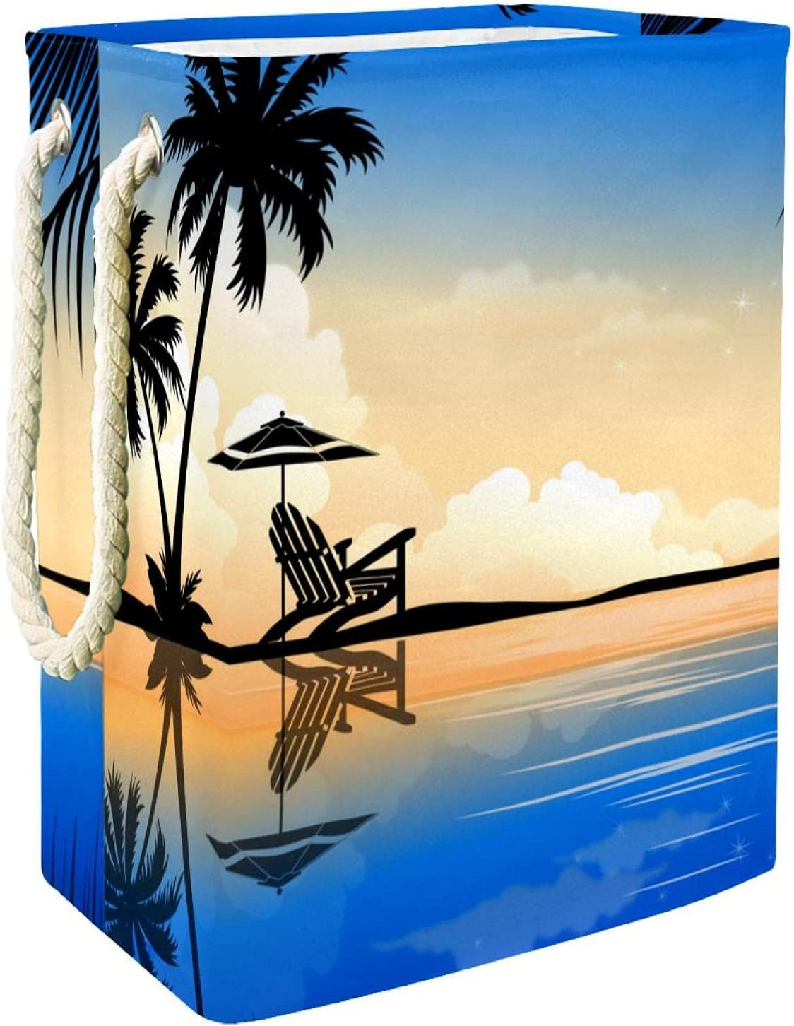 Beautiful Palm Summer Gorgeous Coconut Tree Laundry Large Sale special price With Eas Hamper