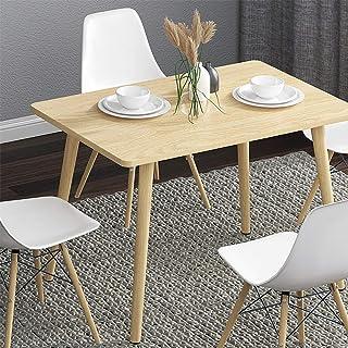KaminHome - Conjunto de Mesa + 4 sillas Comedor Ashley salón Cocina Pata Madera Rectangular diseño nórdico escandinavo Col...