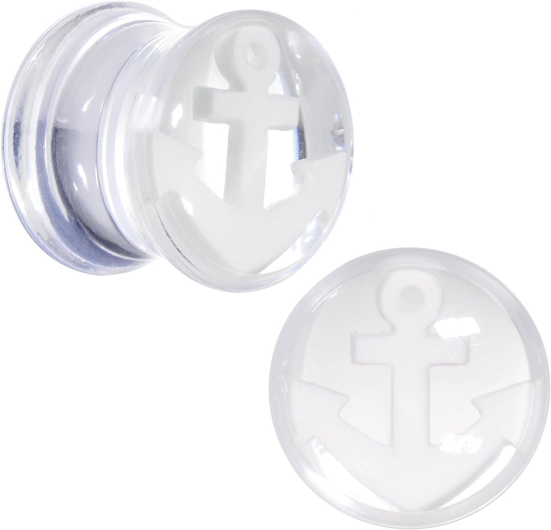 Body Candy Clear Acrylic White Anchor Saddle Ear Gauge Plug Set 00 Gauge