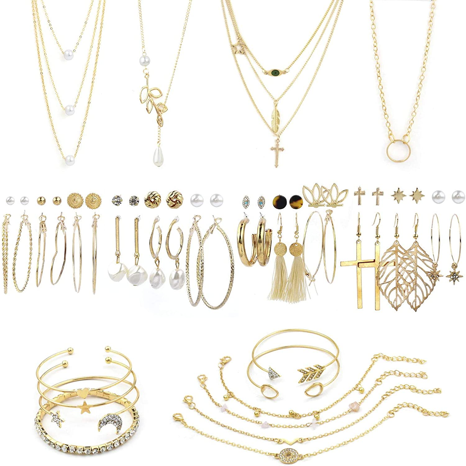 AROIC 38 PCS Gold Jewelry Set with 4 PCS Necklace,10 PCS Bracelet,24 PCS Layered Ball Dangle Hoop Stud Earrings for Women Girls Jewelry Fashion and Valentine Birthday Party Gift