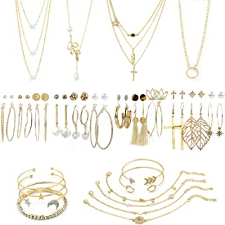 38 PCS Gold Jewelry Set with 4 PCS Necklace,10 PCS...