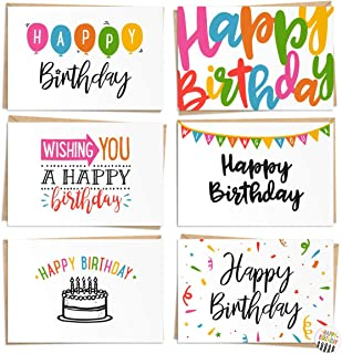 $24 » 120 Pack Happy Birthday Cards - Bulk Set Includes 6 Designs, Craft Paper Envelopes and Labels Included, 4 x 6 Inches