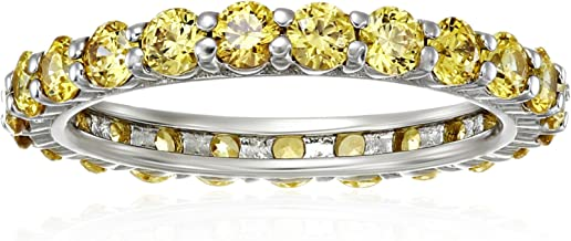 Platinum or Gold Plated Sterling Silver All-Around Band Ring made with Swarovski Zirconia