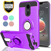 LG Aristo 2/Aristo 3/Aristo 2 Plus/Tribute Dynasty/Rebel 3 LTE/Zone 4/Fortune 2/Rebel 4/K8 Plus/Risio 3 Case with HD Screen Protector, YmhxcY 360 Ring & Bracket Cover for Aristo 3-ZH Purple