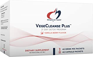 Designs for Health VegeCleanse Plus 21 Day Detox Program - Promotes Healthy Liver Function + Metabolic Cleanse with Antiox...