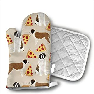 LZMBH Saint Bernard Dog Breed Oven Mitts | Heat Resistant Cotton Kitchen Pot Holder Gloves for Cooking,Barbecue,Baking,Grilling