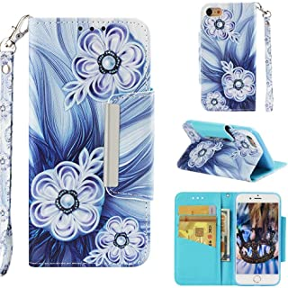 Firefish Case for iPhone 7/8,Durable Slim Kickstand 3D Printing Wallet Case Inner Rubber Bumper with Shockproof Magnetic Closure & Wrist Strap Compatible with Apple iPhone 7/8 -Bead Flower