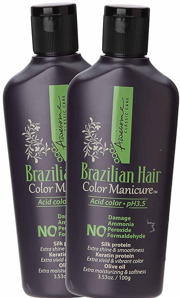 Awesome Brazilian Hair Color Manicure - Acid Color pH3.5, No Damage, No Ammonia, No Peroxide, No Formaldehyde, Silk Protein, Keratin Protein, Olive Oil, 3.53 Oz. (Pack of 2) (Natural Brown)