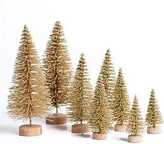 DAVEVY 8pcs Sisal Trees,Desktop Christmas Tree,Mini Christmas Tree Ornaments, Cedar Desktop Small Christmas Tree Creative Xmas Art Supplies for Christmas Crafts and Decor(Gold)