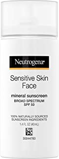 Neutrogena Face Sunscreen for Sensitive Skin from Naturally Sourced Ingredients with Zinc Oxide, Broad Spectrum SPF 50, 1....