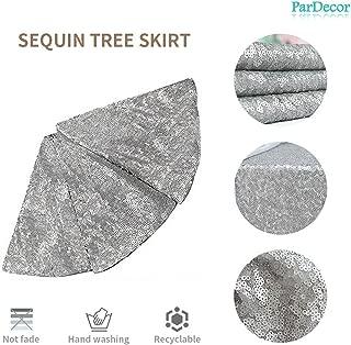 Pardecor 21 Inch Christmas Tree Skirt Grey Sequin Tree Skirt Glitter Tree Skirt Mesh Tree Skirt Christmas Decorations