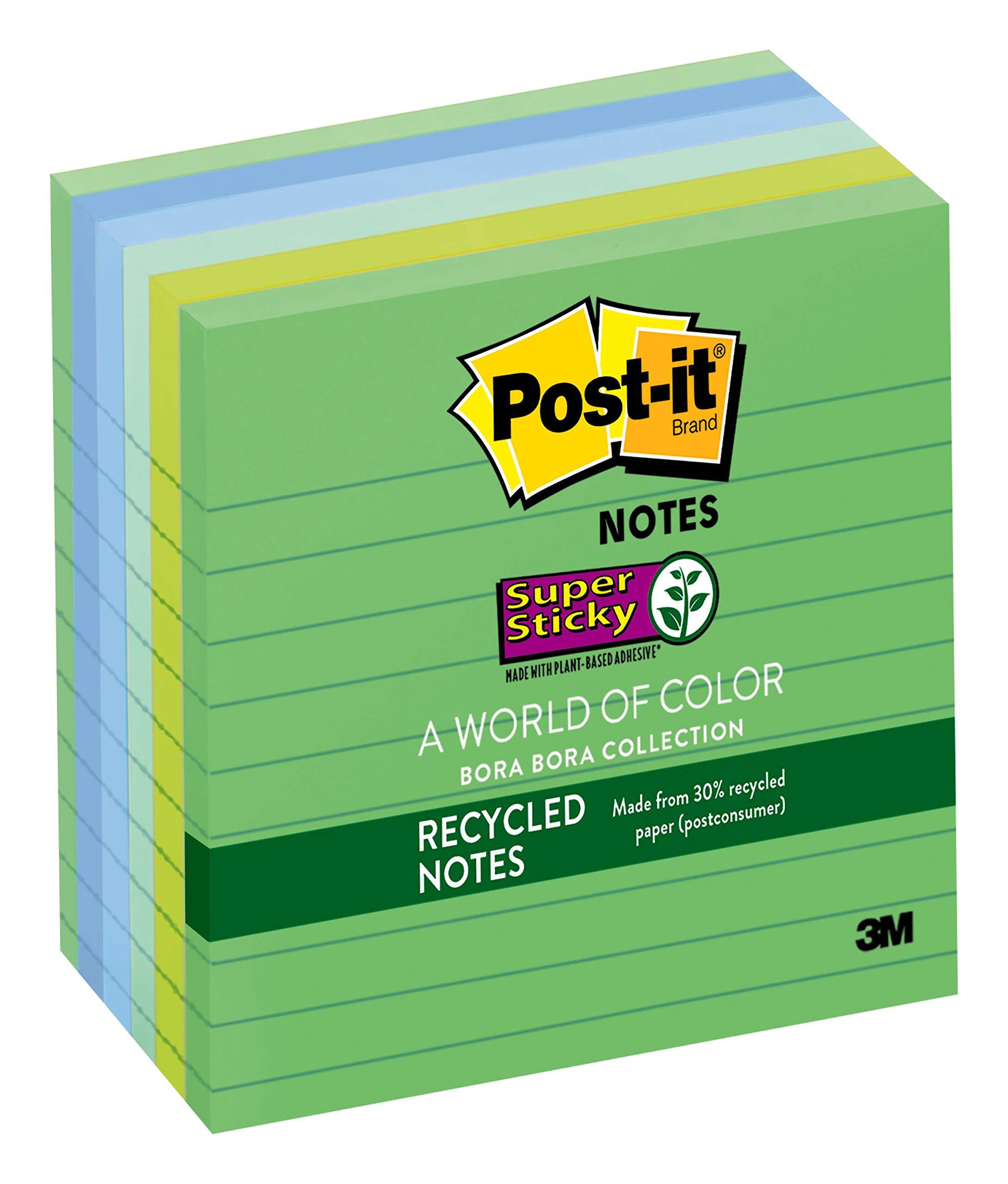 Pack of 6 Post-it Super Sticky 76x76mm Bora Bora Notes 654-6SS-JP