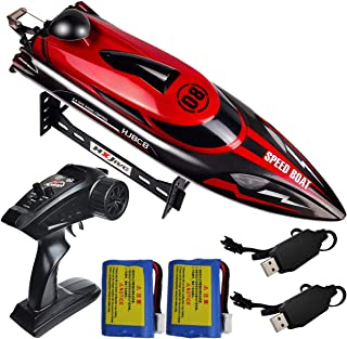 HONGXUNJIE 2.4Ghz RC Boat- 20 mph High Speed Remote Control Boat for Adults and Kids for Lakes and Pools with 2 Rechargeable Batteries, Low Battery Alarm, Capsize Recovery (RED)