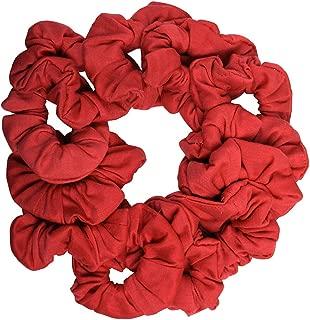 12 Pack Solid Hair Ties Scrunchies - Red