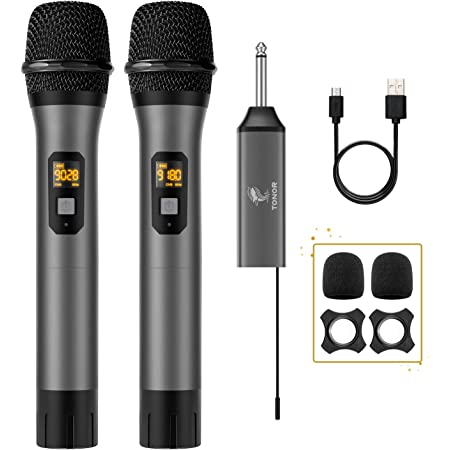 Wireless Microphone, TONOR UHF Dual Cordless Metal Dynamic Mic System with Rechargeable Receiver, for Karaoke Singing, Wedding, DJ, Party, Speech, Church, Class Use, 200ft (TW-630)