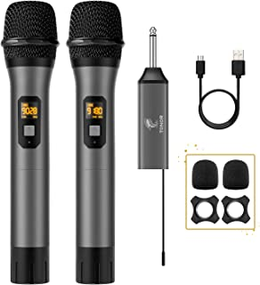 Wireless Microphone, TONOR UHF Dual Cordless Metal Dynamic Mic System with Rechargeable Receiver, for Karaoke Singing, Wed...