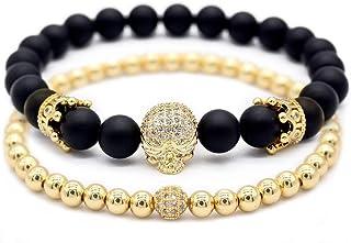 GEMFEEL 2pc/Set Cubic Zirconia Crown Skull Bracelet Black Matte Onyx Natural Stone Beads Bracelets for Men